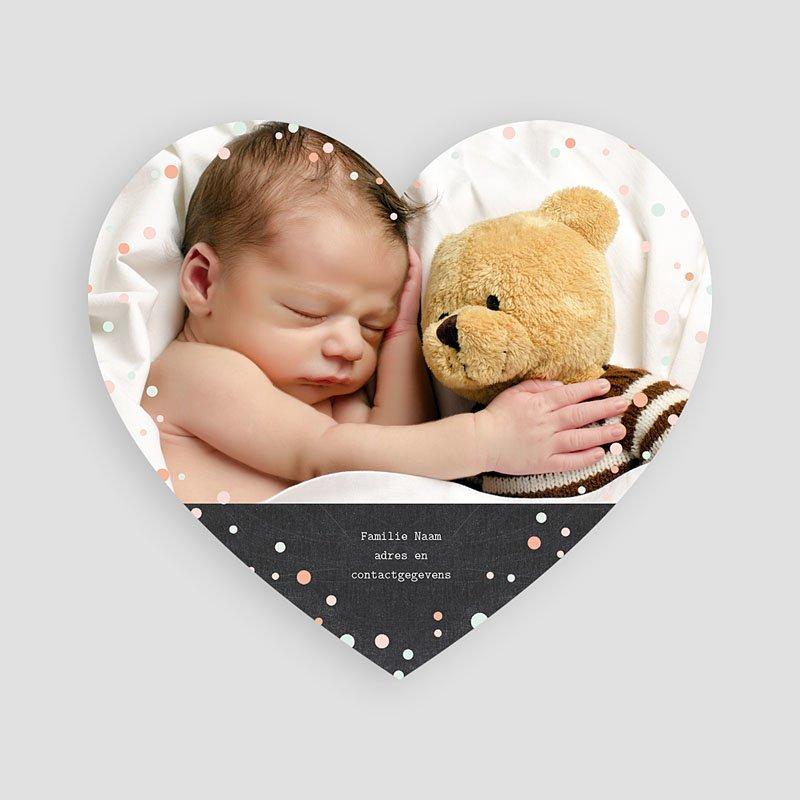 Geboortekaartje jongen - Hartje gedeeld 48337 thumb
