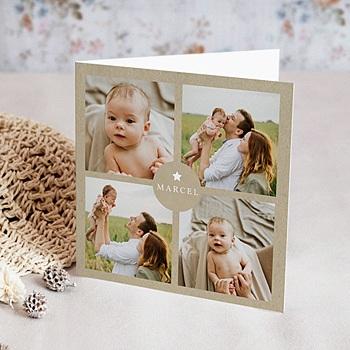 Geboortekaartje jongen - Kraft Vintage - 0