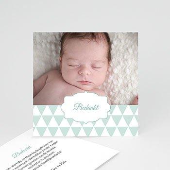 Bedankkaartje geboorte zoon - blauwe driehoekjes - 0