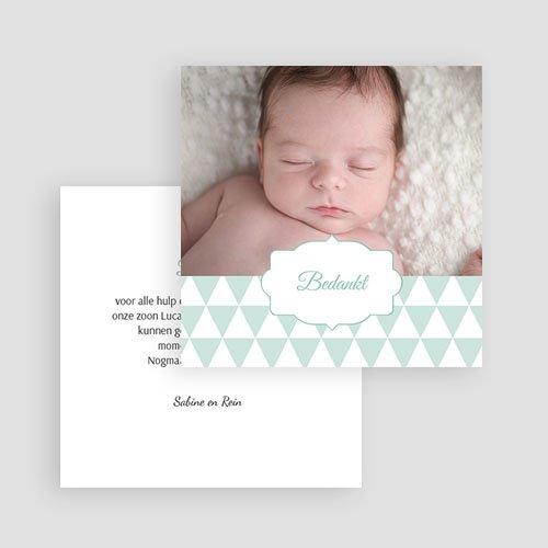 Bedankkaartje geboorte zoon - blauwe driehoekjes 49673 thumb