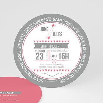 Rondje trouwkaarten - Roze en grijs - 0