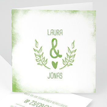 Personaliseerbare trouwkaarten - Groen & wit - 0