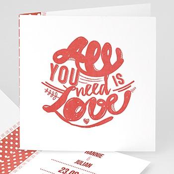 Personaliseerbare trouwkaarten - Rood & Wit - 0
