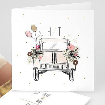 Personaliseerbare trouwkaarten - Citroen 2CV - 0