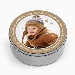 Personaliseerbare blikken doosjes Merry Christmas & Kraft