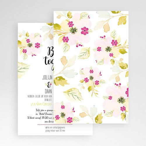 Rechthoekige trouwkaarten - Romance Watercolor 51356 thumb