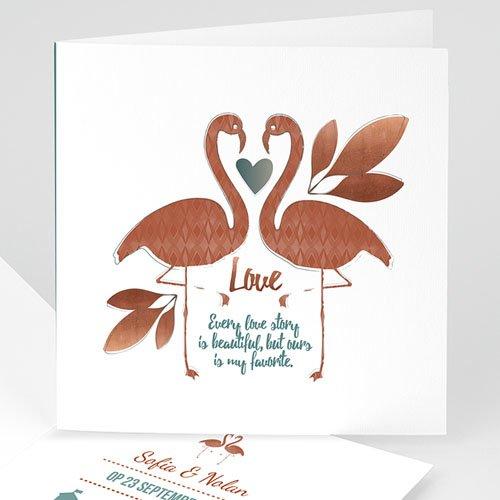 Personaliseerbare trouwkaarten - Flamingo Love 51409