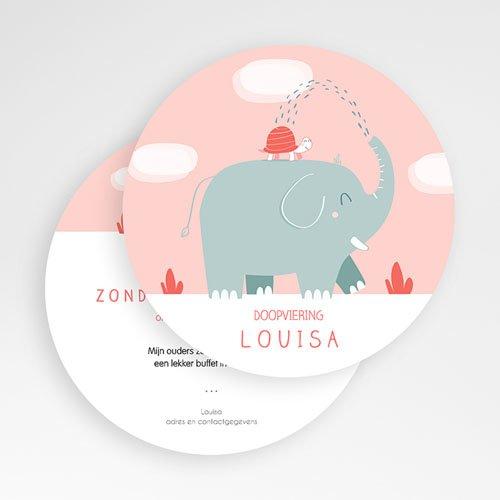 Doopkaartje meisje - Ronde roze olifant 51880 thumb