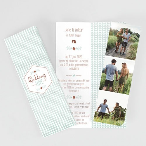 Personaliseerbare trouwkaarten - Wedding Love Triangles 52014
