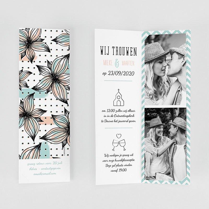 Trouwkaarten Moderne Bloemen gratuit