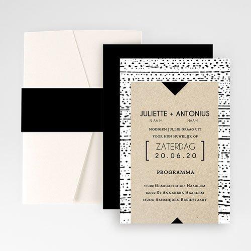 Rechthoekige trouwkaarten - Modern & Tribal 52052