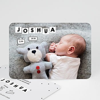 Geboortekaartje jongen - Baby Letters - 0