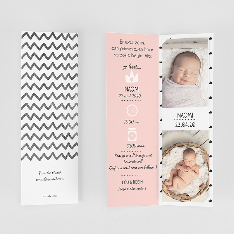 Geboortekaartje meisje Mooie prinses gratuit