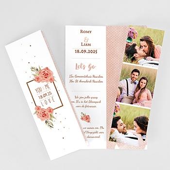 Personaliseerbare trouwkaarten - Roze en Hout