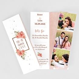Personaliseerbare trouwkaarten - Roze en Hout - 0
