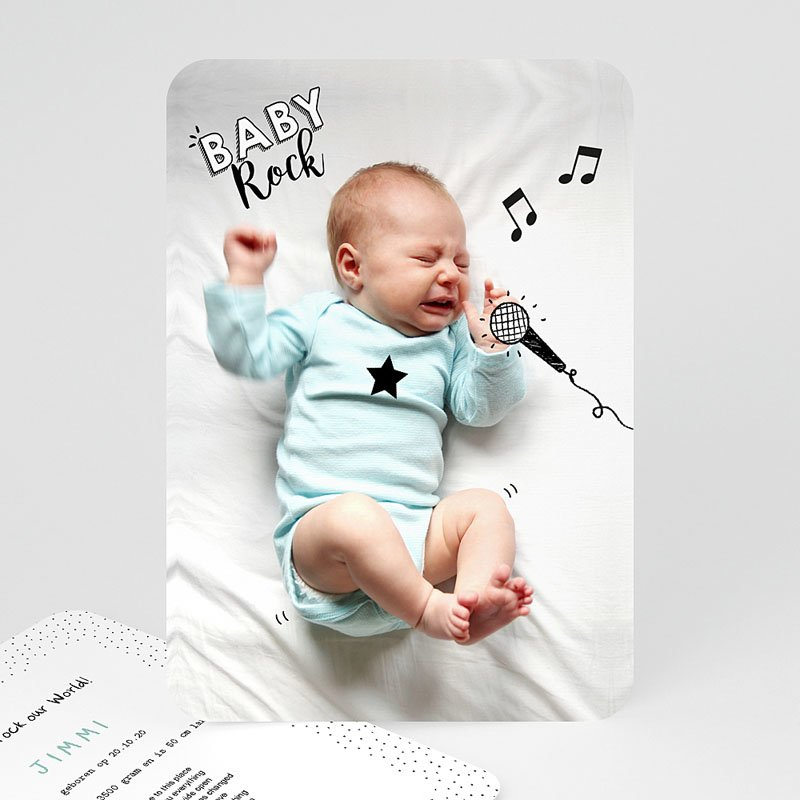 originele geboortekaartjes rock star baby. Black Bedroom Furniture Sets. Home Design Ideas