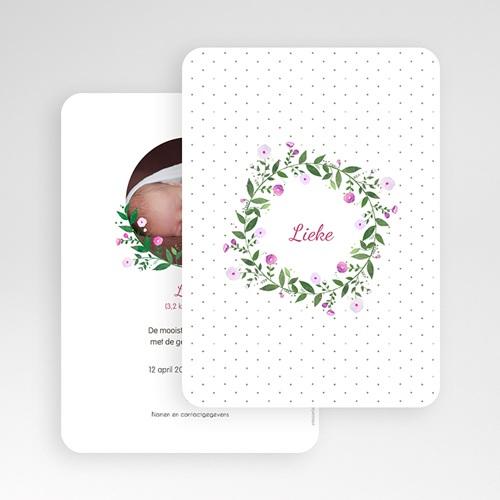 Geboortekaartje meisje - Bloemenkrans 53366 thumb