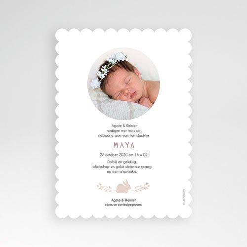 Geboortekaartje meisje - Retro konijn 53501 thumb