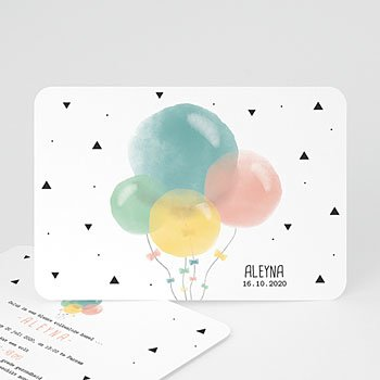 Geboortekaartje meisje - Pastel ballonnen - 0