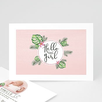Geboortekaartje meisje - Tropische bloemen - 0