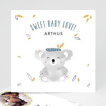 Geboortekaartje jongen - Koala blauw - 0