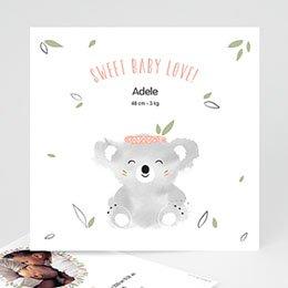 Geboortekaartje meisje Koala roze