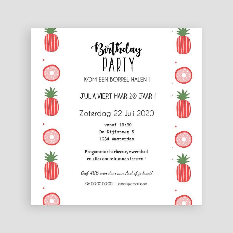 Meerderjarig Uitnodigingen Verjaardag Rode ananas pas cher