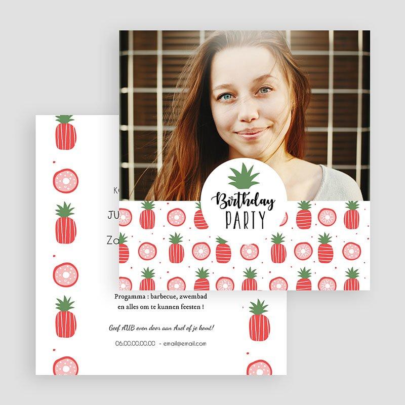 Meerderjarig Uitnodigingen Verjaardag Rode ananas gratuit