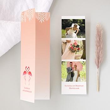 Bedankkaartjes huwelijk - Pink Flamingos - 0