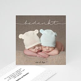 Bedankkaartjes Geboorte Tweeling baby