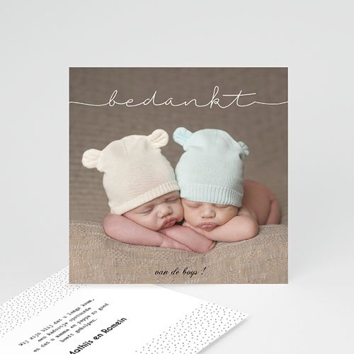 Bedankkaarten geboorte - Tweeling baby 54245 thumb