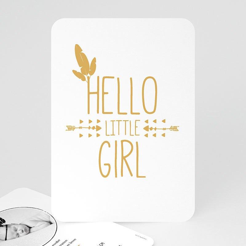 Geboortekaartje meisje - Little squaw in gold 54787 thumb