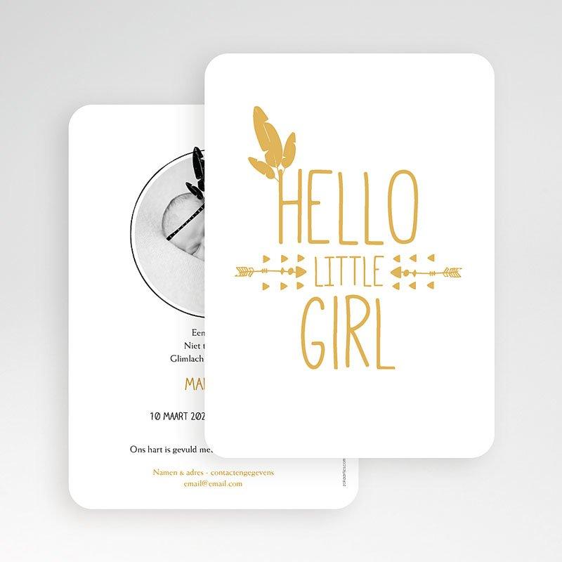 Geboortekaartje meisje - Little squaw in gold 54789 thumb
