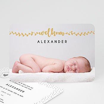 Geboortekaartje jongen - Welkom in goud - 0