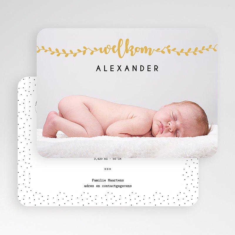 Geboortekaartje jongen Welkom in goud gratuit