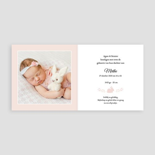 Geboortekaartje meisje - Konijntje goud 54874 thumb