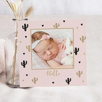Geboortekaartje meisje - Golden Cactus - 0