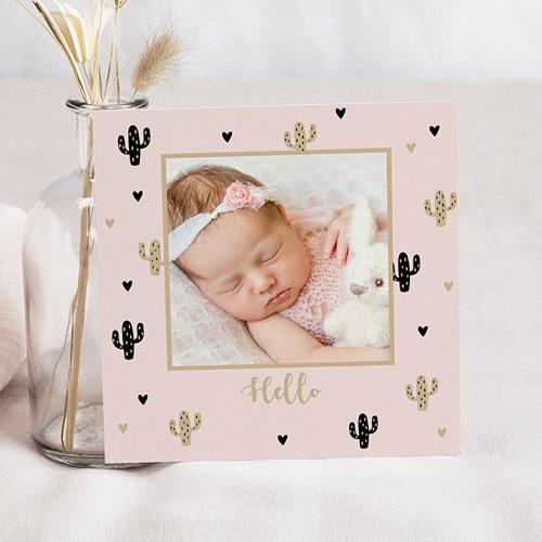 Geboortekaartje meisje - Golden Cactus 54961