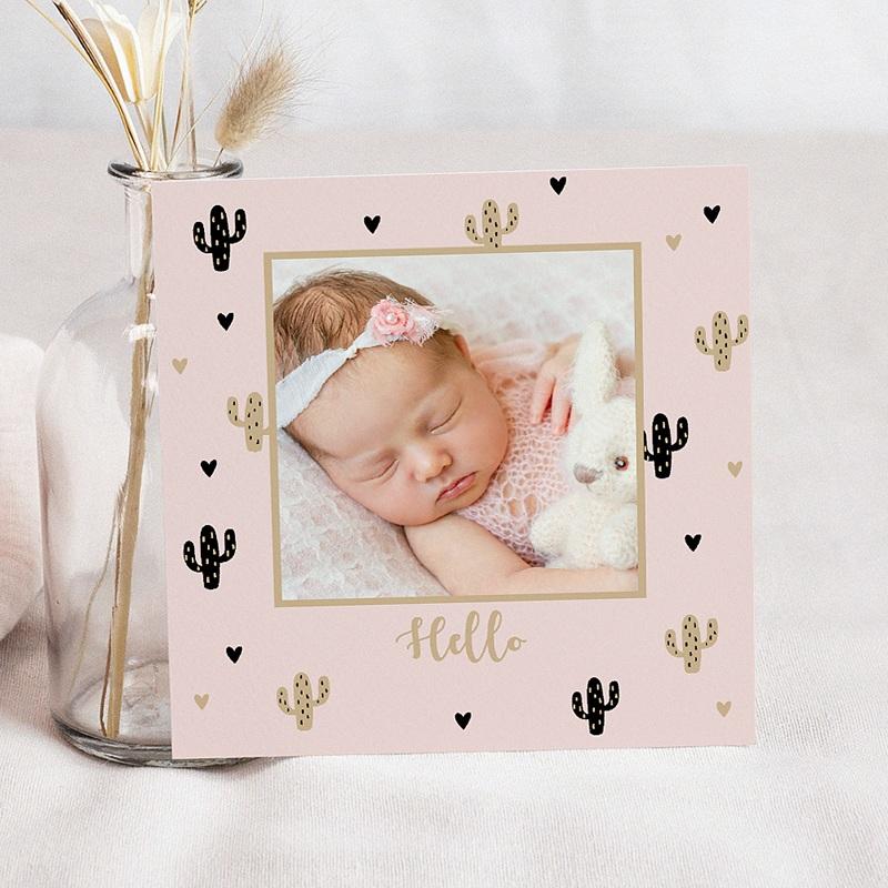 Geboortekaartje meisje - Golden Cactus 54961 thumb