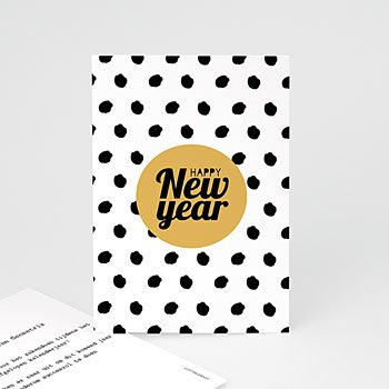 Professionele wenskaarten - Goud & zwarte confetti - 0