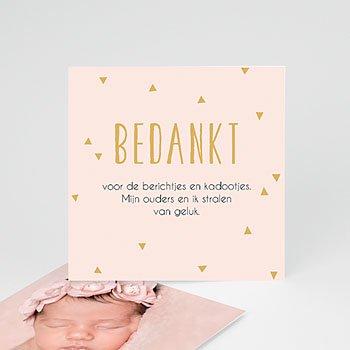 Bedankkaartje geboorte dochter - Bedankt in goud - 0