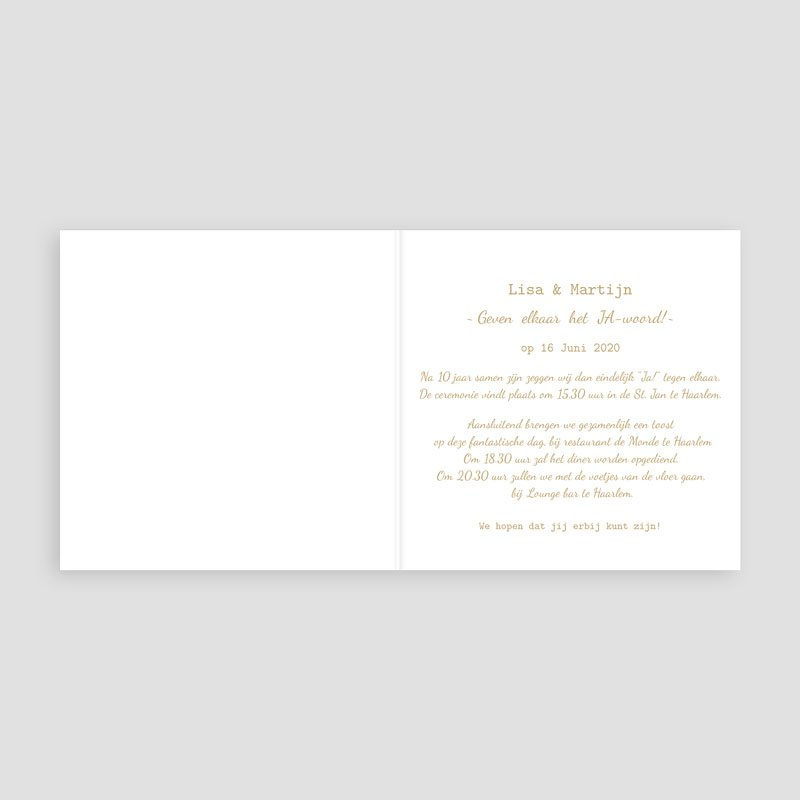 Chique trouwkaarten - Chique Goud 55460 thumb