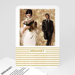 Chique bedankkaartjes huwelijk Strepen in Goud