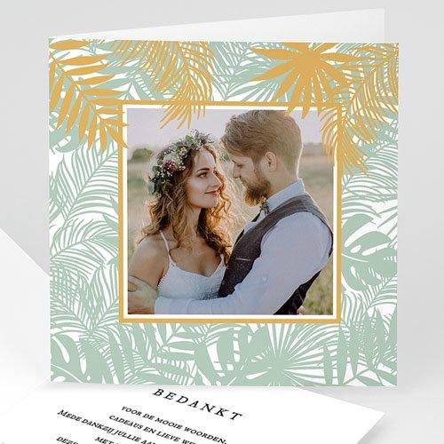 Chique bedankkaartjes huwelijk Tropical thanks