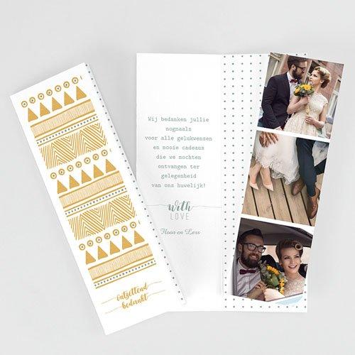 Originele bedankkaarten huwelijk - Gouden boho 55701 thumb