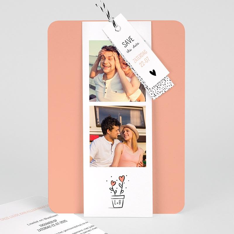Creatieve trouwkaarten - 2 harten 55762 thumb