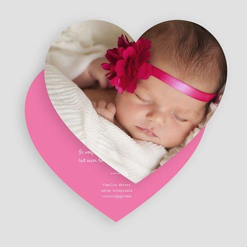 Geboortekaartjes met foto Pink heart gratuit