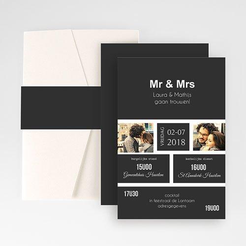 Rechthoekige trouwkaarten Ouderwets modern