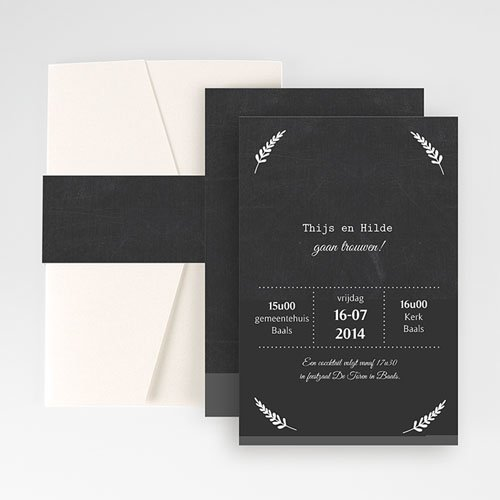 Rechthoekige trouwkaarten Met lauweren