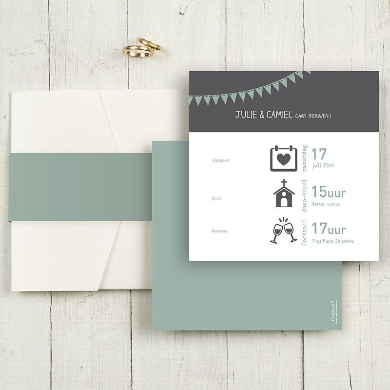 Vierkante Trouwkaarten - decoratief trouwkaartje 56045 thumb
